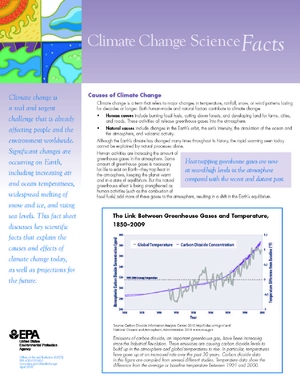 EPA Fact Sheet: Climate Change Science Facts