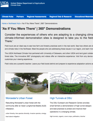 "USDA Northeast Climate Hub virtual demonstration project ""As If You Were There"""