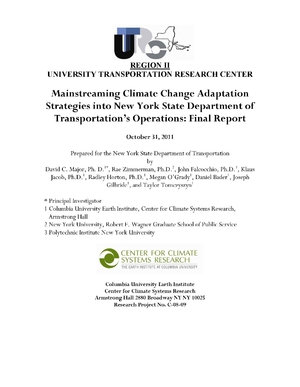 Mainstreaming Climate Change Adaptation Strategies into New York State Department of Transportation's Operations: Final Report