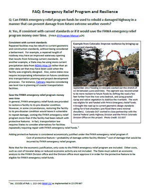 FHWA Emergency Relief Program and Resilience
