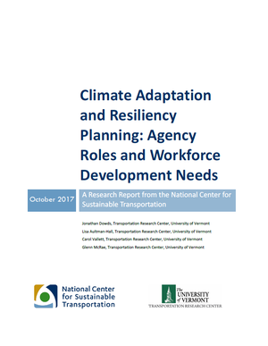 Climate Adaptation and Resiliency Planning: Agency Roles and Workforce Development Needs