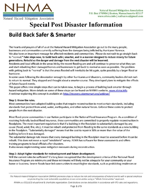 Special Post Disaster Information: Build Back Safer & Smarter