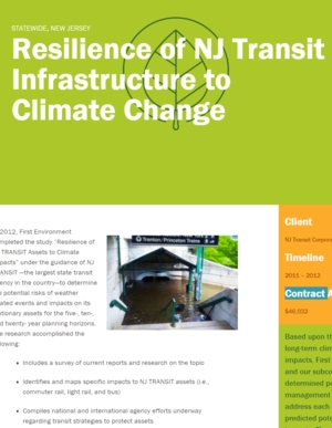 Resilience of New Jersey Transit (NJ TRANSIT) Assets to Climate Impacts
