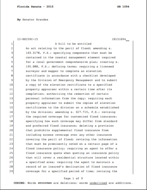 "Florida SB 1094: ""An act relating to the peril of flood"""