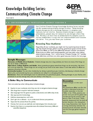 EPA Knowledge Building Series: Communicating Climate Change
