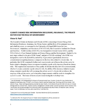 Climate Change Risk Information Disclosure, Insurance, the Private Sector, and the Role of Government